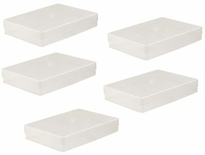 5 X A4 Clear Plastic Box Holder Paper Storage Envelope Craft Leaflet Boxes New