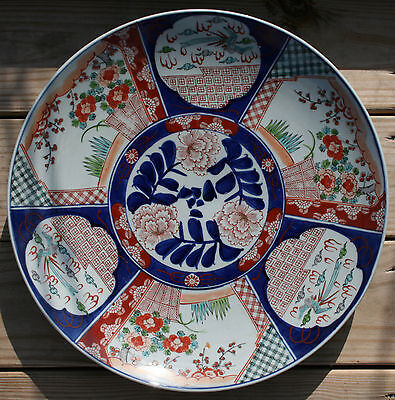 Beautiful Large Meiji Era Imari Charger with Flying Birds and Floral Motif
