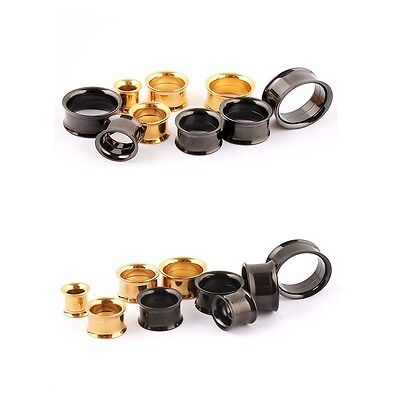 Surgical Stainless Steel Flesh Tunnels Double Flare Ear Plugs 316L Ear Expanders