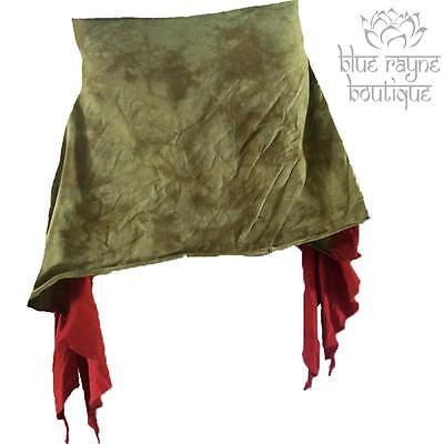 Fusion Belly Dance Curled Edge Olive Batik Two Tone Tie Dye Over Layer Skirt