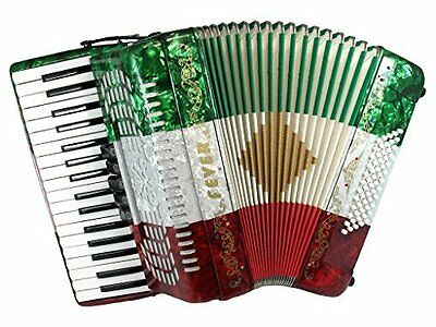 Fever Piano Accordion 5 Switches 34 Keys 60 Bass, Red, White, Green, F3460-MX