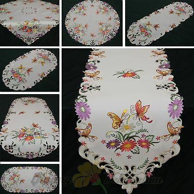Butterfly Table runner Doily Tablecloth White with coloured Flower Embroidery