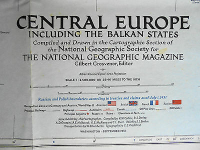 Old School Wall Map- Central Europe Inc Balkan States 1951 - National Geographic