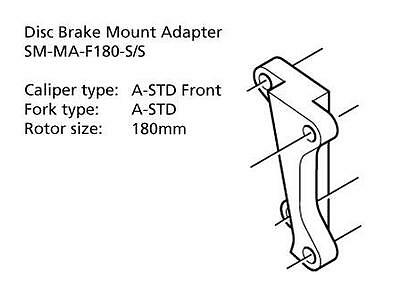 "Shimano Disc Brake Adapter SM-MA-F180-SS Front 180mm 7"" Rotor A-STD/A-STD Mount"