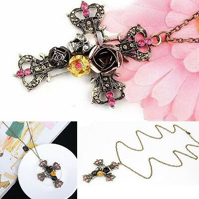 Vintage Lady Gothic Mode Skull Cross Pebble Flower Pendants Chain The Necklace