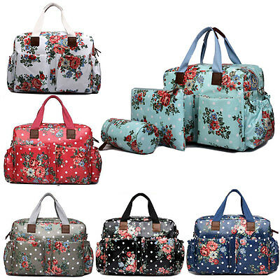 04pcs Mummy Baby Nappy Diaper Changing Maternity Bag Set Wipe Clean Flower
