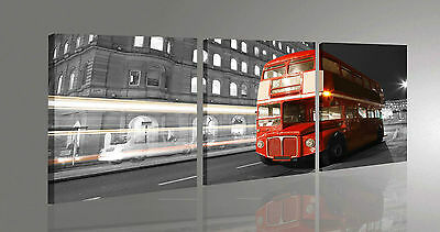 Quadro Moderno 3 pz. LONDON BUS CM 50x150 CITTA' BUS ROSSO STAMPA SU TELA CANVAS