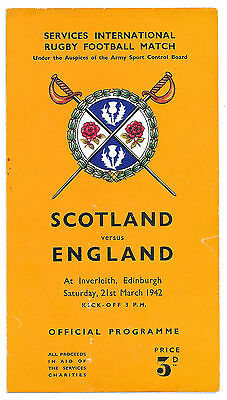 1942 - Scotland v England, Services International Match Programme.