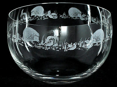 *ANIMAL GIFT*  22cm Boxed CRYSTAL GLASS BOWL with engraved HEDGEHOG Frieze