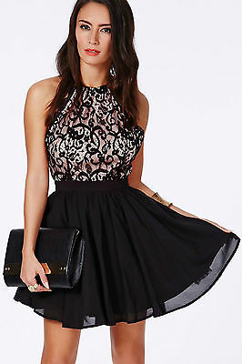 Mini Abito nudo ricamato gonna pizzo Cross Back Lace Detail Party Skater Dress