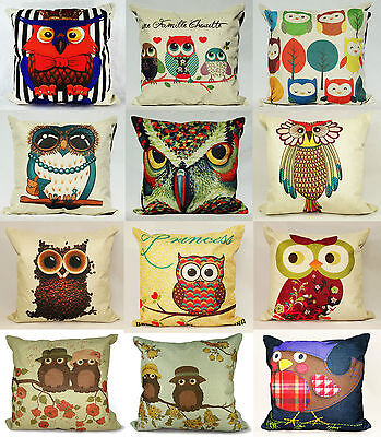 """Owl Cushion Covers Or Filled Cushions Vintage Cotton Linen 17""""x17"""" Many Designs"""