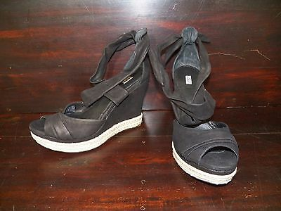 7f7195ec692 NEW WOMENS UGG Lucy Black Strappy Ankle Wrap Around Wedge Leather Nubuck  Sandals