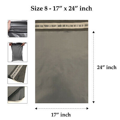 10 Strong Grey Mailing Packaging Plastic Bags Large Size 17' x 24' QUICK POSTAGE
