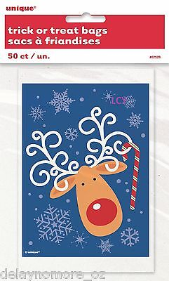 50 Christmas Xmas Party Favours Blue Reindeer Candy Cane Treat Loot Lolly Bags