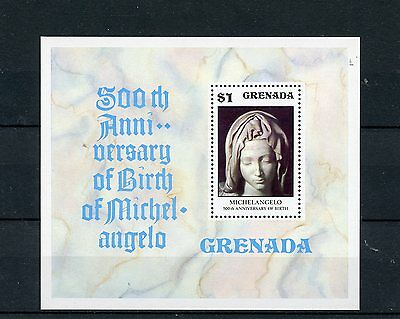 Grenada 1975 MNH Michelangelo 500th Birth Anniversary 1v S/S Art Sculptures