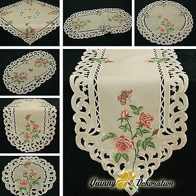 Rose Doily Table runner Tablecloth Linen-look Beige with Pink Flower Embroidery