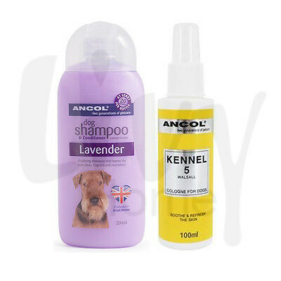 Ancol Calm Lavender Dog Shampoo & Kennel 5 Cologne Perfume Scent Set