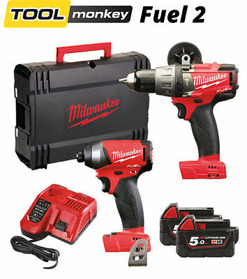 Milwaukee M18FPP2A-502x New 18v Fuel Hammer Drill and Impact Driver Twin Kit
