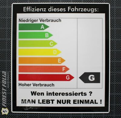 1x Effizienz CO2 Energie Auto Aufkleber Shocker FUN JDM V6 VR6  Tuning Sticker