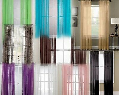 "2 Panels Voile Sheer Fabric Elegant Window Curtain Drape Use Many Styles 52""x84"""