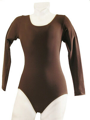 Long Sleeve Dance Leotard Child's Cotton Brown New Sizes 2 - 14/16