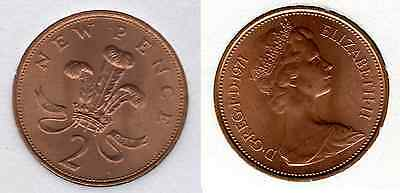 1971 2p UNCIRCULATED Two Pence Queen Elizabeth II GB Royal Mint (b)