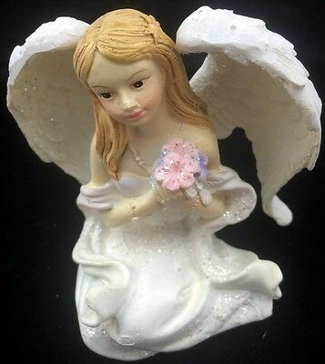 Miniature SITTING ANGEL Figurine Statue Ornament Home Decor Gift - 8cm Tall -New