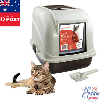 New Cat Pet Toilet Litter Box Tray Portable Hooded House Handle Scoop Carrier