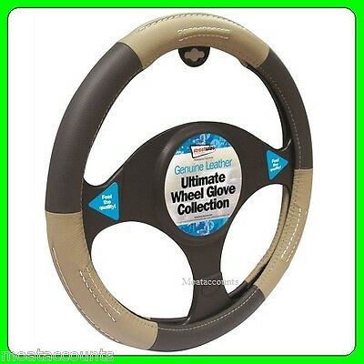 Black & Biege Genuine Leather Steering Wheel Cover [SWWG9] Fits 37 - 38 cm Diame