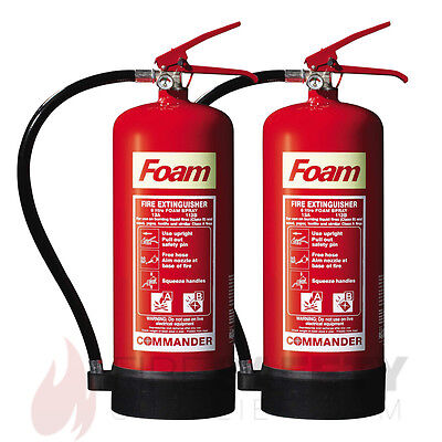 New Two 6 Litre Foam (Afff) Fire Extinguisher - 6L- Free Shipping, Uk Stock