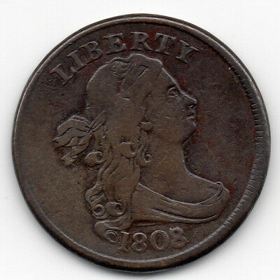1808/7 1808 over 7 HALF CENT RARE C-2 Variety Nice VF+/XF Detailing Authentic