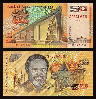 RARE SPECIMEN Banknote PAPUA NEW GUINEA 50 Kina 1989 (P-11s) 1st Issue Sig#3 UNC
