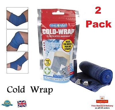 Elasticated Cold Compression Bandage Wrap Muscle Pain Swelling Relief Cold Wrap