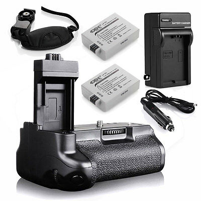 2x LP-E5 Battery+Charger+Battery Grip For Canon 450D 500D 1000D Rebel XS XSi T1i