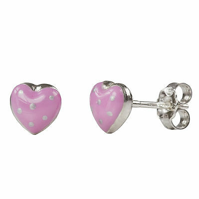 925 Sterling Silver Girls/Childs Pink Spotty Heart Stud Earrings - Made In Italy