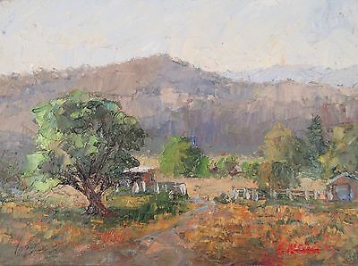 Original Oil Painting Australian Impressionist Artist Enoch Hlisic OLD FARM