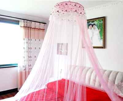 Round Lace Curtain Dome Bed Canopy Netting Princess Mosquito Net Girl Pink, New