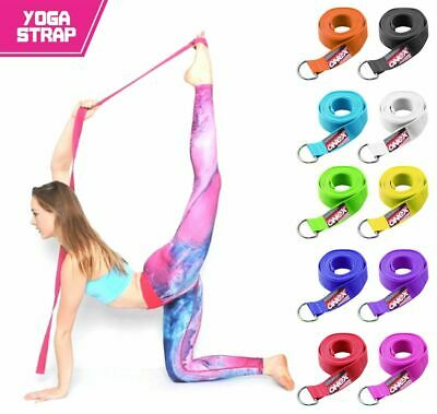 Stretching Strap Yoga D-Ring Belt 180 cm Waist Leg Fitness Exercise 100% Cotton