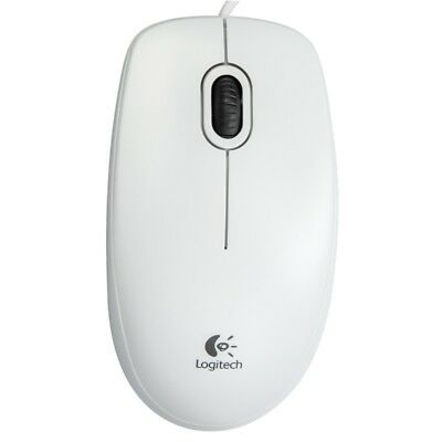 NEW Logitech B100 Optical USB Mouse for Windows Mac & Linux - White
