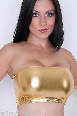 Boob Tube METALLIC GOLD Lycra BANDEAU Shiny Wet Look TOP Club Party Womens B106