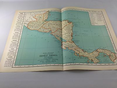 Vintage 1934 Rand McNally Map of Central America ~ Full Color ~ Ships Free!