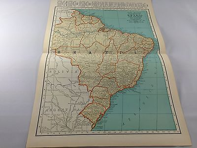 Vintage 1934 Rand McNally Map of Brazil and Guianas ~ Full Color ~ Ships FREE!