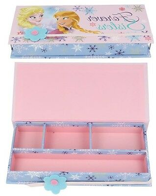 Wd16229 Girls Disney Frozen Sisters Foever Pink Elsa Anna Pencil Case Box
