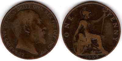 1902 KING EDWARD VII ONE PENNY 1d - COIN (a)