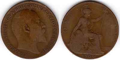 1909 KING EDWARD VII ONE PENNY 1d - COIN (b)