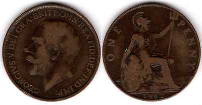 """1912 """"H"""" KING GEORGE V ONE PENNY 1d - COIN - H - Heaton mintmark to left date b"""