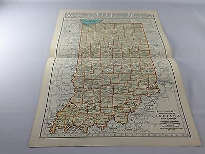 Vintage 1934 Rand McNally Map of Indiana ~ Color ~ Ships FREE!