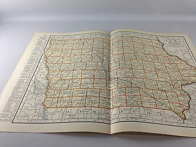 Vintage 1934 Rand McNally Map of Iowa ~ Color ~ Ships FREE!