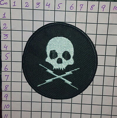 #188 Death Proof Skull & Crossbones Iron-on/ Sew-on Embroidered Patch / BADGE