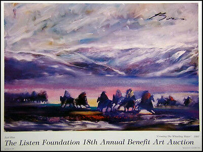 """Earl Biss """"Crossing the Whistling Water"""" HAND SIGNED poster Make an Offer!!!"""